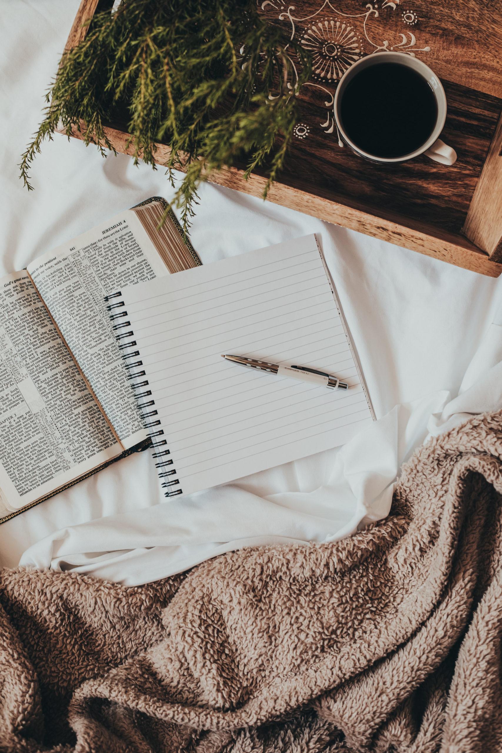 bible, journaling, coffe