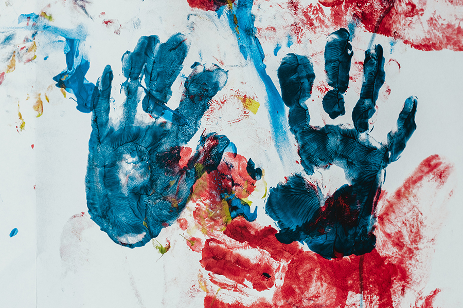messy handprints