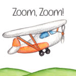 zoom zoom, airplane, boy nursery, printable, 8x10, download