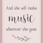 she will make music, nursery print, download, digital, 8x10