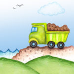dump truck printable, boys room, boys nursery, 8x10